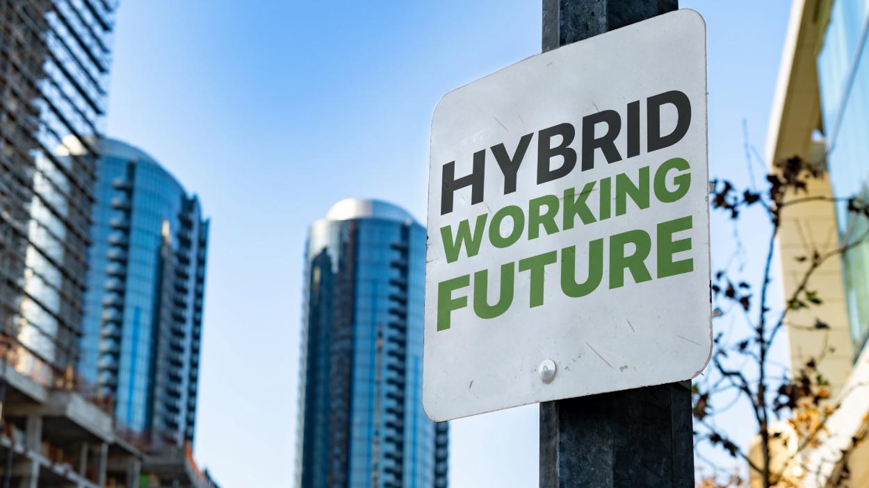Hybrid working sign